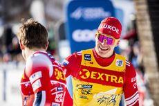 04.01.2020, Val di Fiemme, Italy (ITA):Johannes Hoesflot Klaebo (NOR), Alexander Bolshunov (RUS), (l-r)  - FIS world cup cross-country, tour de ski, individual sprint, Val di Fiemme (ITA). www.nordicfocus.com. © Modica/NordicFocus. Every downloaded pict