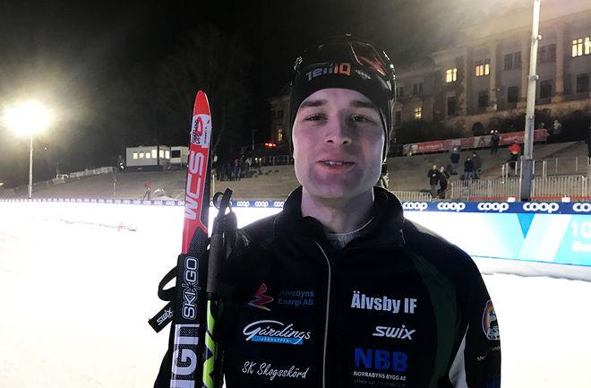 JOHANNES HORTLUND från Älvsbyn vann sensationellt den andra deltävlingen av World Sprint Series i Dresden trots att han inte var nöjd med åkningen. Foto/rights: KJELL-ERIK KRISTIANSEN/kekstock.com