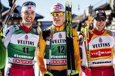 11.01.2020, Val di Fiemme, Italy (ITA):Joergen Graabak (NOR), Vinzenz Geiger (GER), Jarl Magnus Riiber (NOR), (l-r)  - FIS world cup nordic combined, individual gundersen HS134/10km, Val di Fiemme (ITA). www.nordicfocus.com. © Modica/NordicFocus. Every