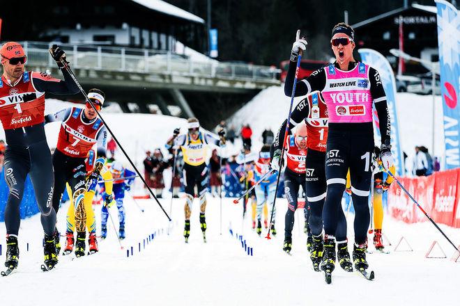 EMIL PERSSON (th) jublar för sin andra seger för säsongen i Visma Ski Classics. Andreas Nygaard (tv) måste nöja sig med en andra plats. Foto: VISMA SKI CLASSICS