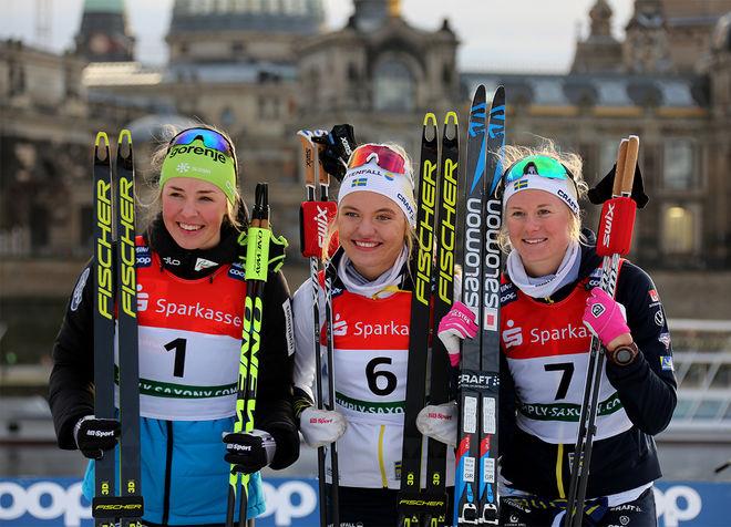 SVENSK DOMINANS åter igen i Dresden. Här dom tre bästa damerna, fr v: Anamarija Lampic (2:a), Linn Svahn (1:a) och Maja Dahlqvist (3:a). Foto/rights: KJELL-ERIK KRISTIANSEN/kekstock.com