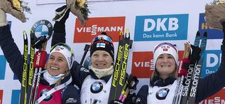 12.01.2020, Oberhof, Germany (GER):Tiril Eckhoff (NOR), Kaisa Makarainen (FIN), Marte Olsbu Roeiseland (NOR), (l-r) -  IBU world cup biathlon, mass women, Oberhof (GER). www.nordicfocus.com. © Manzoni/NordicFocus. Every downloaded picture is fee-liable.