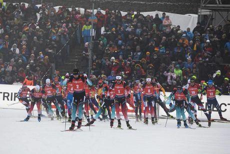 12.01.2020, Oberhof, Germany (GER):Martin Fourcade (FRA), Tarjei Boe (NOR), Johannes Dale (NOR), Simon Desthieux (FRA), Julian Eberhard (AUT), Lukas Hofer (ITA), (l-r) -  IBU world cup biathlon, mass men, Oberhof (GER). www.nordicfocus.com. © Manzoni/No
