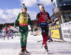 23.03.2019, Oslo, Norway (NOR):Dorothea Wierer (ITA), Tiril Eckhoff (NOR), (l-r) - IBU world cup biathlon, pursuit women, Oslo (NOR). www.nordicfocus.com. © Manzoni/NordicFocus. Every downloaded picture is fee-liable.