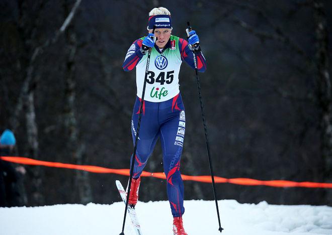 SANDRA OLSSON, Malungs IF gjorde ett starkt lopp i helgens marathon i Långberget i norra Värmland. Foto/rights: KJELL-ERIK KRISTIANSEN/kekstock.com