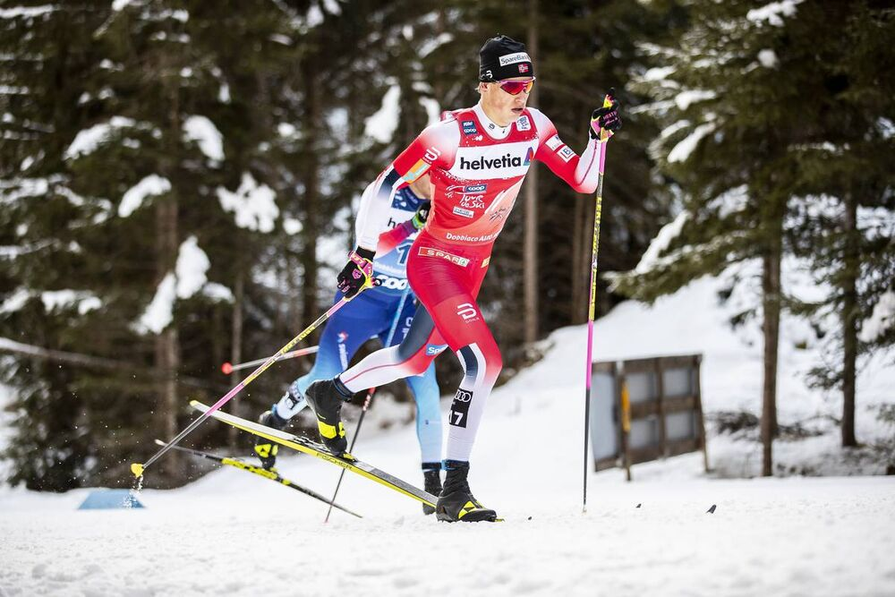 01.01.2020, Toblach, Italy (ITA):Johannes Hoesflot Klaebo (NOR) - FIS world cup cross-country, tour de ski, pursuit men, Toblach (ITA). www.nordicfocus.com. © Modica/NordicFocus. Every downloaded picture is fee-liable.