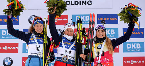 15.01.2020, Ruhpolding, Germany (GER):Dorothea Wierer (ITA), Hanna Oeberg (SWE), Tiril Eckhoff (NOR) -  IBU world cup biathlon, sprint women, Ruhpolding (GER). www.nordicfocus.com. © Tumashov/NordicFocus. Every downloaded picture is fee-liable.