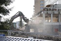 Riving av bygg i Utmarkveien 2 på Bøler. Foto: Boligbygg Oslo KF