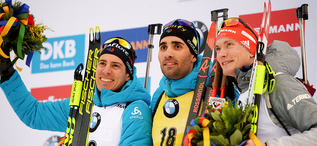 16.01.2020, Ruhpolding, Germany (GER):Martin Fourcade (FRA), Quentin Fillon Maillet (FRA), Benedikt Doll (GER) -  IBU world cup biathlon, sprint men, Ruhpolding (GER). www.nordicfocus.com. © Tumashov/NordicFocus. Every downloaded picture is fee-liable.