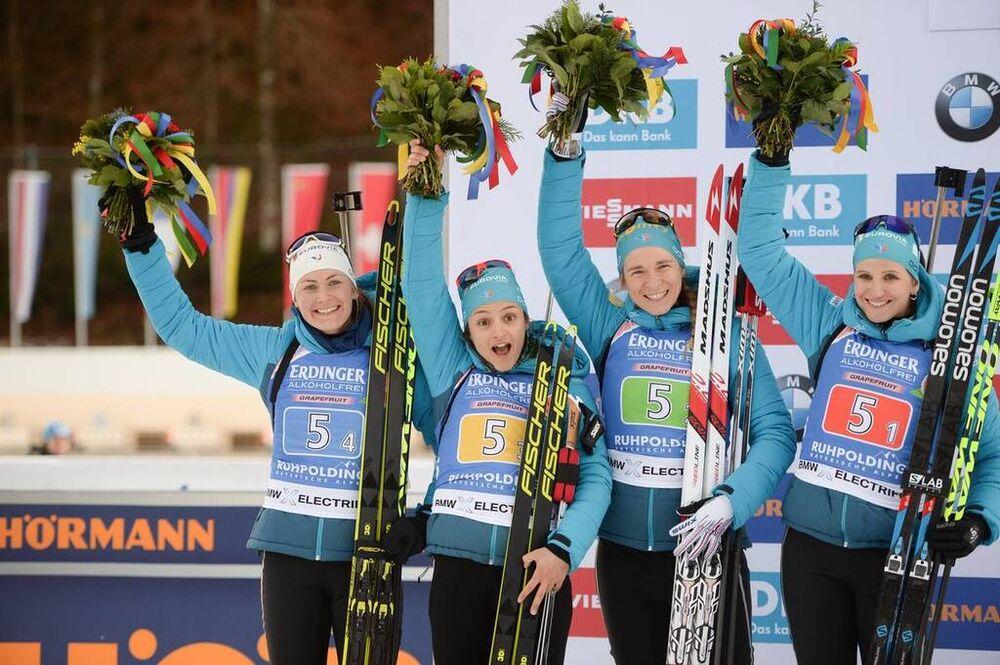 17.01.2020, Ruhpolding, Germany (GER):Julia Simon (FRA), Anais Bescond (FRA), Celia Aymonier (FRA), Justine Braisaz (FRA) -  IBU world cup biathlon, relay women, Ruhpolding (GER). www.nordicfocus.com. © Tumashov/NordicFocus. Every downloaded picture is