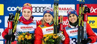 18.01.2020, Nove Mesto, Czech Republic (CZE):Natalia Nepryaeva (RUS), Therese Johaug (NOR), Heidi Weng (NOR), +g+ - FIS world cup cross-country, 10km women, Nove Mesto (CZE). www.nordicfocus.com. © Modica/NordicFocus. Every downloaded picture is fee-lia