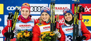 18.01.2020, Nove Mesto, Czech Republic (CZE):Natalia Nepryaeva (RUS), Therese Johaug (NOR), Heidi Weng (NOR), +g+ - FIS world cup cross-country, 10km women, Nove Mesto (CZE). www.nordicfocus.com. © Modica/NordicFocus. Every downloaded picture is fee-lia