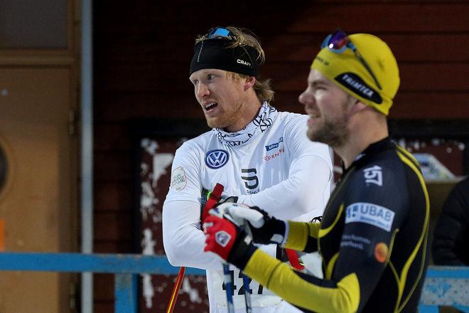 OSKAR SVENSSON vann den korta banan i kamp mot  Teodor Peterson och Viktor Thorn.