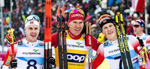 19.01.2020, Nove Mesto, Czech Republic (CZE):Simen Hegstad Krueger (NOR), Alexander Bolshunov (RUS), Johannes Hoesflot Klaebo (NOR), (l-r)  - FIS world cup cross-country, pursuit men, Nove Mesto (CZE). www.nordicfocus.com. © Modica/NordicFocus. Every do