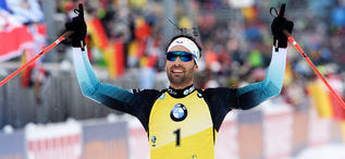 19.01.2020, Ruhpolding, Germany (GER):Martin Fourcade (FRA) -  IBU world cup biathlon, pursuit men, Ruhpolding (GER). www.nordicfocus.com. © Tumashov/NordicFocus. Every downloaded picture is fee-liable.