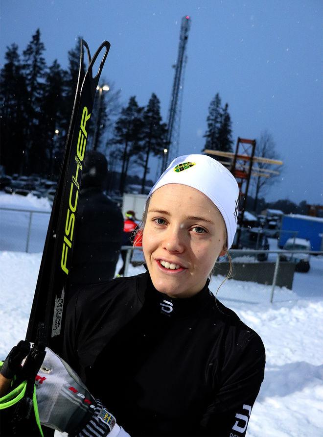 MÄRTA ROSENBERG från Duved har prickat formen till ungdoms-OS i Lausanne. Nu vann hon 5 km klassisk och har både guld, silver och brons i mästerskapen. Foto/rights: MATTIAS BÅNGMAN/kekstock.com