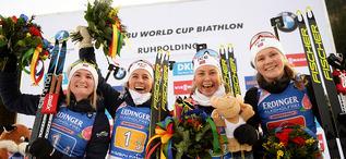 17.01.2020, Ruhpolding, Germany (GER):Karoline Offigstad Knotten (NOR), Ingrid Landmark Tandrevold (NOR), Tiril Eckhoff (NOR), Marte Olsbu Roeiseland (NOR) -  IBU world cup biathlon, relay women, Ruhpolding (GER). www.nordicfocus.com. © Tumashov/NordicF