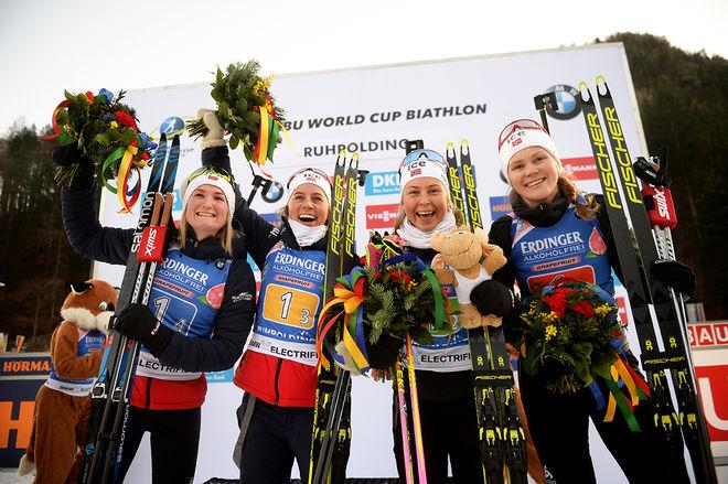 NORGES DAMER är obesegrade i fyra världscupstafetter den här säsongen. Här från den sista i Ruhpolding, fr h: Karoline Knotten, Ingrid Landmark Tandrevold, Tiril Eckhoff och Marte Olsbu Røiseland. Foto: NORDIC FOCUS
