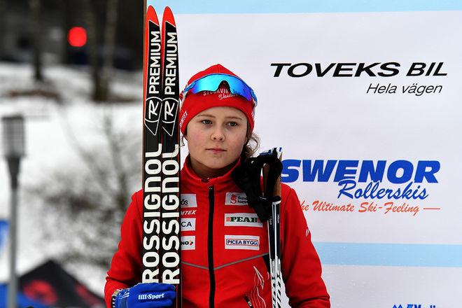 TOVE ERICSSON tog medalj på ungdoms-OS och var klar segrare i fredagens tävling i den nordiska juniorlandskampen i Falun. Foto/rights: ROLF ZETTERBERG/kekstock.com