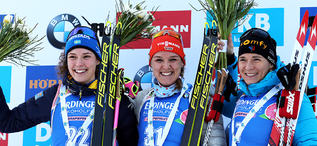 24.01.2020, Pokljuka, Slovenia (SLO): Hana Oeberg (SWE), Denise Herrmann (GER), Anais Bescond (FRA)++ -  IBU world cup biathlon, individual women, Pokljuka (SLO). www.nordicfocus.com. © Manzoni/NordicFocus. Every downloaded picture is fee-liable.
