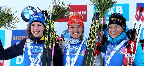 24.01.2020, Pokljuka, Slovenia (SLO): Hana Oeberg (SWE), Denise Herrmann (GER), Anais Bescond (FRA)++ -  IBU world cup biathlon, individual women, Pokljuka (SLO). www.nordicfocus.com. © Manzoni/NordicFocus. Every downloaded picture is fee-liable.