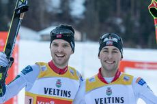 12.01.2020, Val di Fiemme, Italy (ITA):(l-r)  - FIS world cup nordic combined, team sprint HS104/2x7.5km, Val di Fiemme (ITA). www.nordicfocus.com. © Volk/NordicFocus. Every downloaded picture is fee-liable.