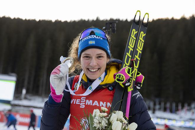 HANNA ÖBERG är det största guldhoppet för Sverige i årets VM i skidskytte som börjar i italienska Antholz på torsdag. Alla tävlingarna går direkt i SVT. Foto: NORDIC FOCUS