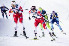 04.01.2020, Val di Fiemme, Italy (ITA):Anne Kjersti Kalvaa (NOR), Heidi Weng (NOR), (l-r)  - FIS world cup cross-country, tour de ski, individual sprint, Val di Fiemme (ITA). www.nordicfocus.com. © Modica/NordicFocus. Every downloaded picture is fee-lia