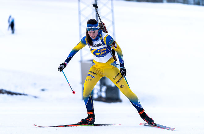 ELLA HALVARSSON var en av dom bästa svenska åkarna på årets  JVM i skidskytte i schweiziska Lenzerheide. Foto: SVENSKA SKIDSKYTTEFÖRBUNDET