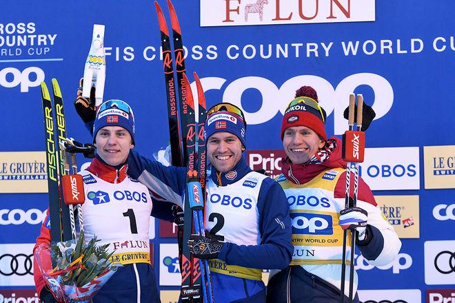 HERRPALLEN i sprinten på Lugnet i Falun, fr v: Erik Valnes (2:a), Pål Golberg (1:a) och Alexander Bolshunov (3:a). Foto/rights: ROLF ZETTERBERG/kekstock.com