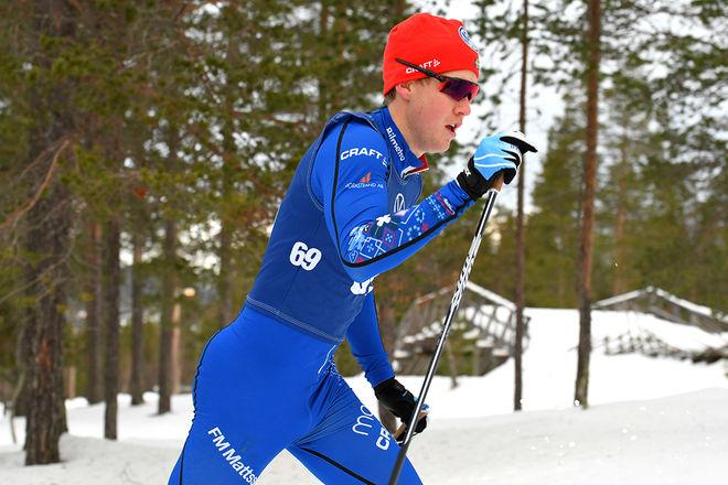 GABRIEL HÖJLIND från IFK Mora vann igen, nu i det 43,5 km långa Bessemerloppet som flyttats från Gästrikland till Harsa i Hälsingland. Foto/rights: ROLF ZETTERBERG/kekstock.com
