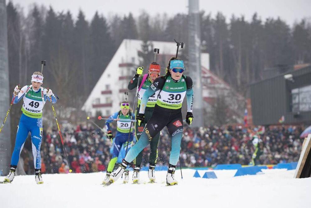 24.02.2019, Minsk-Raubichi, Belarus (BLR):Lou Jeanmonnot (FRA) - IBU Open European championships biathlon, pursuit women, Minsk-Raubichi (BLR). www.nordicfocus.com. © Manzoni/NordicFocus. Every downloaded picture is fee-liable.
