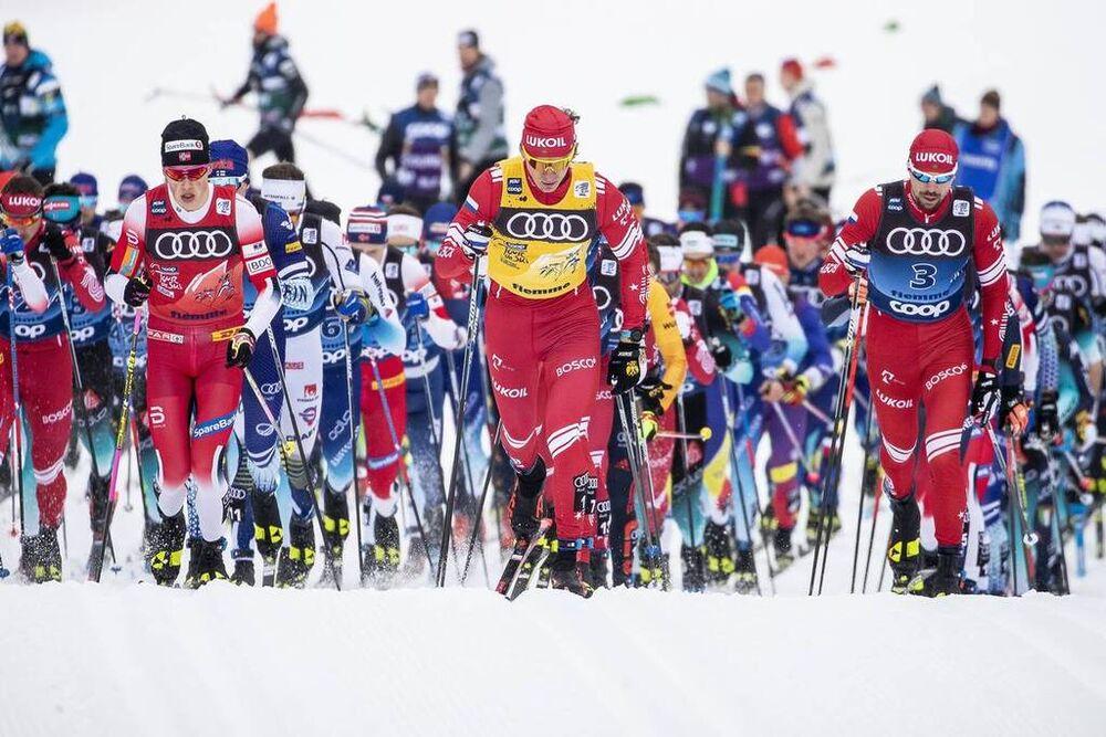 03.01.2020, Val di Fiemme, Italy (ITA):Alexander Bolshunov (RUS), Johannes Hoesflot Klaebo (NOR), Sergey Ustiugov (RUS), (l-r)  - FIS world cup cross-country, tour de ski, mass men, Val di Fiemme (ITA). www.nordicfocus.com. © Modica/NordicFocus. Every d