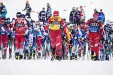 03.01.2020, Val di Fiemme, Italy (ITA):Alexander Bolshunov (RUS), Johannes Hoesflot Klaebo (NOR), Sergey Ustiugov (RUS), (l-r)  - FIS world cup cross-country, tour de ski, mass men, Val di Fiemme (ITA). www.nordicfocus.com. © Modica/NordicFocus. Every d