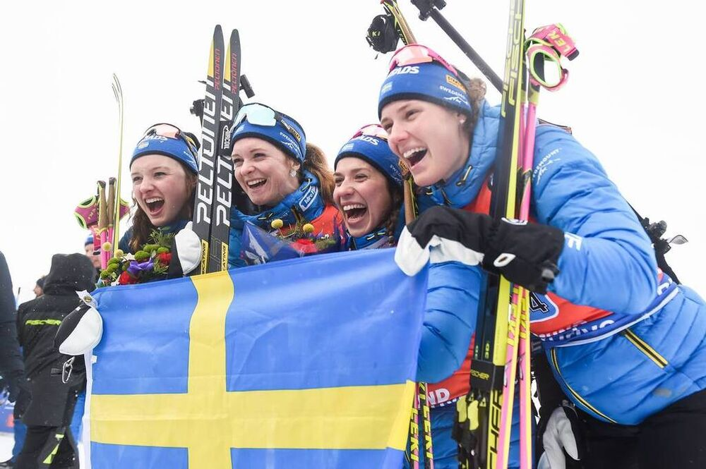 16.03.2019, Oestersund, Sweden (SWE):Linn Persson (SWE), Mona Brorsson (SWE), Anna Magnusson (SWE), Hanna Oeberg (SWE) - IBU world championships biathlon, relay women, Oestersund (SWE). www.nordicfocus.com. © Tumashov/NordicFocus. Every downloaded pictu