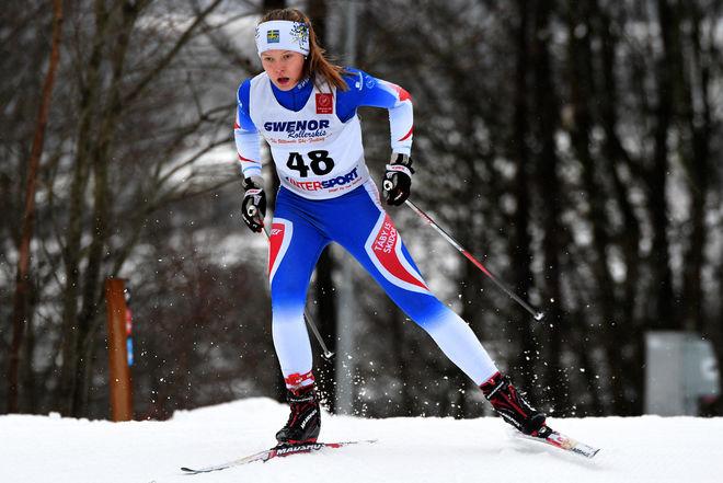 TILDE JOSEFSSON förde Täby IS till seger i tjejernas USM-stafett i Matfors. Foto/rights: ROLF ZETTERBERG/kekstock.com