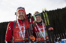 25.01.2020, Pokljuka, Slovenia (SLO):Simon Eder (AUT), Lisa Theresa Hauser (AUT), (l-r) -  IBU world cup biathlon, single mixed relay, Pokljuka (SLO). www.nordicfocus.com. © Manzoni/NordicFocus. Every downloaded picture is fee-liable.