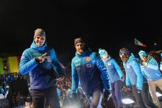 12.02.2020, Antholz, Italy (ITA):Emilien Jacquelin (FRA), Simon Desthieux (FRA), (l-r) - IBU World Championships Biathlon, opening ceremony, Antholz (ITA). www.nordicfocus.com. © Manzoni/NordicFocus. Every downloaded picture is fee-liable.