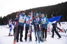 02.12.2018, Pokljuka, Slovenia (SLO):Martin Fourcade (FRA), Anais Bescond (FRA), Simon Desthieux (FRA), Justine Braisaz (FRA), (l-r) - IBU world cup biathlon, relay mixed, Pokljuka (SLO). www.nordicfocus.com. © Manzoni/NordicFocus. Every downloaded pict