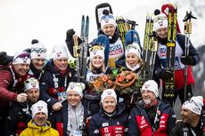 13.02.2020, Antholz, Italy (ITA):Marte Olsbu Roeiseland (NOR), Tiril Eckhoff (NOR), Tarjei Boe (NOR), Johannes Thingnes Boe (NOR), (l-r) - IBU World Championships Biathlon, relay mixed, Antholz (ITA). www.nordicfocus.com. © Modica/NordicFocus. Every dow