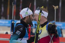 22.12.2019, Annecy-Le Grand Bornand, France (FRA):Martin Fourcade (FRA), Johannes Thingnes Boe (NOR), (l-r) -  IBU world cup biathlon, mass men, Annecy-Le Grand Bornand (FRA). www.nordicfocus.com. © Manzoni/NordicFocus. Every downloaded picture is fee-l