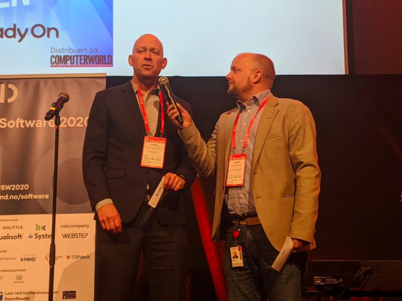 Jens Christian Bang og Dag Rustad i Digitaliseringspådden introduserte seg selv ved å intervjue hverandre. Foto: DND