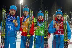22.02.2014, Sochi, Russia (RUS): Anton Shipulin (RUS), Dmitry Malyshko (RUS), Evgeny Ustyugov (RUS), Alexey Volkov (RUS)- XXII. Olympic Winter Games Sochi 2014, biathlon, relay men, Sochi (RUS). www.nordicfocus.com. © NordicFocus. Every downloaded pictu