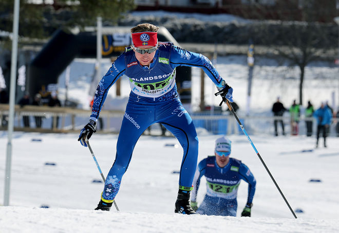 JONAS ERIKSSON, IFK Mora visade styrka då han vann Volkswagen Cup över 15 km fristil i Lycksele under lördagen. Foto/rights: KJELL-ERIK KRISTIANSEN/kekstock.com