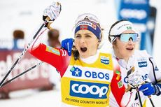 09.02.2020, Falun, Sweden (SWE):Therese Johaug (NOR), Ebba Andersson (SWE), (l-r)  - FIS world cup cross-country, 10km women, Falun (SWE). www.nordicfocus.com. © Modica/NordicFocus. Every downloaded picture is fee-liable.