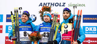 15.02.2020, Antholz, Italy (ITA):Quentin Fillon Maillet (FRA), Alexander Loginov (RUS), Martin Fourcade (FRA), (l-r) - IBU World Championships Biathlon, sprint men, Antholz (ITA). www.nordicfocus.com. © Modica/NordicFocus. Every downloaded picture is fe