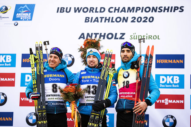 15.02.2020, Antholz, Italy (ITA):Quentin Fillon Maillet (FRA), Alexander Loginov (RUS), Martin Fourcade (FRA), (l-r) - IBU World Championships Biathlon, sprint men, Antholz (ITA). www.nordicfocus.com. © Modica/NordicFocus. Every downloaded picture is fe