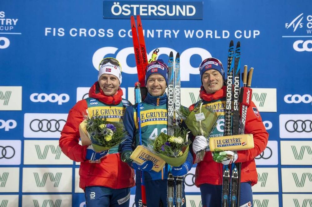 15.02.2020, Oestersund, Sweden (SWE):Simen Hegstad Krueger (NOR), Sjur Roethe (NOR), Finn Haagen Krogh (NOR), (l-r) - FIS world cup cross-country, 15km men, Oestersund (SWE). www.nordicfocus.com. © Vianney THIBAUT/NordicFocus. Every downloaded picture i