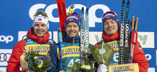 15.02.2020, Oestersund, Sweden (SWE):Simen Hegstad Krueger (NOR), Sjur Roethe (NOR), Finn Haagen Krogh (NOR), (l-r) - FIS world cup cross-country, 15km men, Oestersund (SWE). www.nordicfocus.com. © Vianney THIBAUT/NordicFocus. Every downloaded picture i