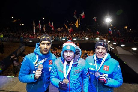 15.02.2020, Antholz, Italy (ITA):Martin Fourcade (FRA), Alexander Loginov (RUS), Quentin Fillon Maillet (FRA), (l-r) - IBU World Championships Biathlon, medals, Antholz (ITA). www.nordicfocus.com. © Manzoni/NordicFocus. Every downloaded picture is fee-l